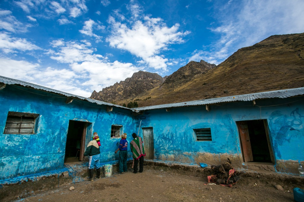 getting ready for the national anniversary of the liberation of peru - chillihuani village -quechua isolated community in peru