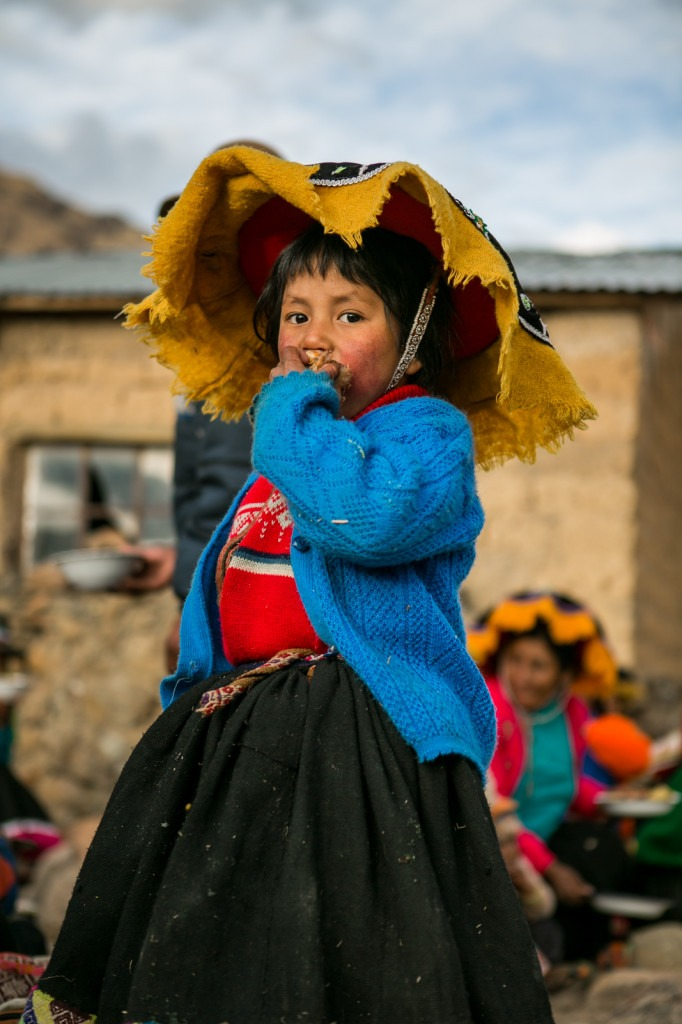 portrait of a andin child - chillihuani village -quechua isolated community in peru