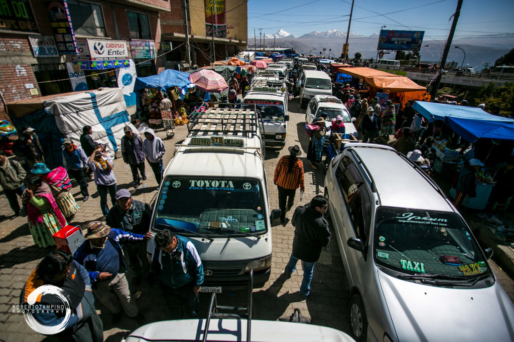 el alto - biggest market in south america - la paz bolivia - picture from a bus roof