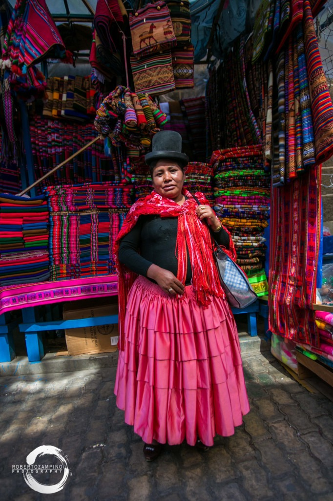 bolivian typical dressed woman - bolivia - la paz market