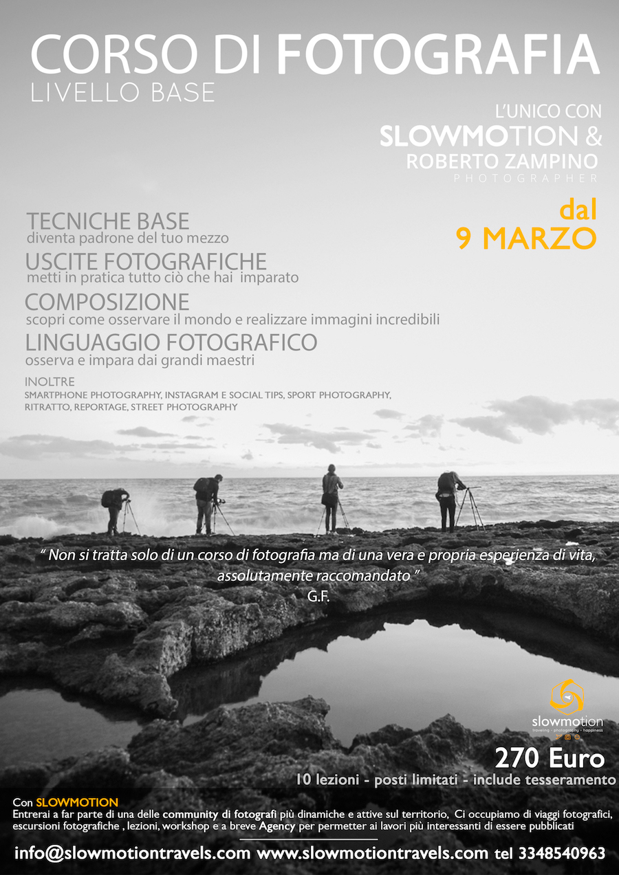 Corso base di fotografia a siracusa con Slowmotion